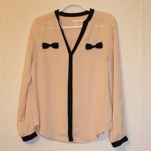 LC Lauren Conrad Tops - Lauren Conrad long sleeve bow accent blouse sz.med